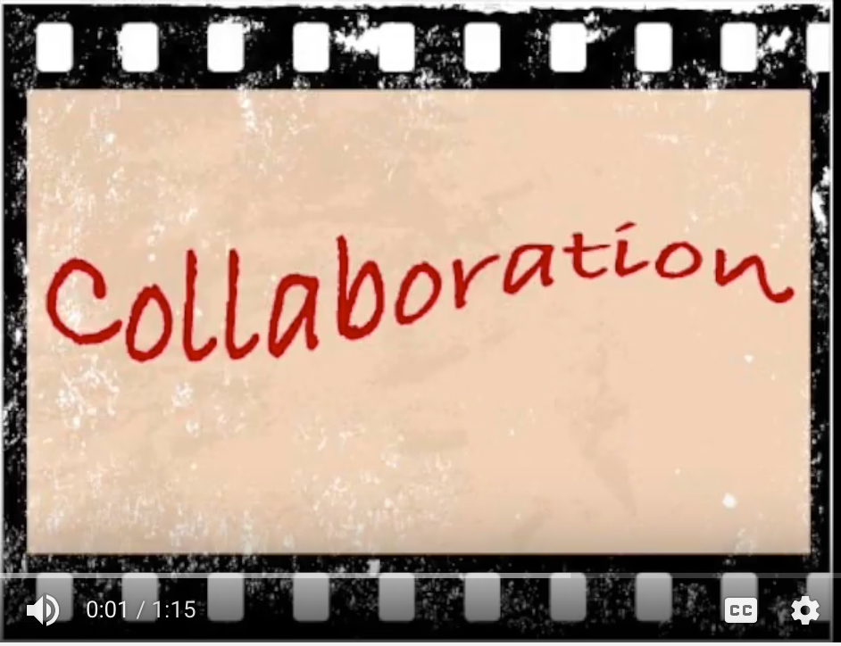 film strip with word collaboration